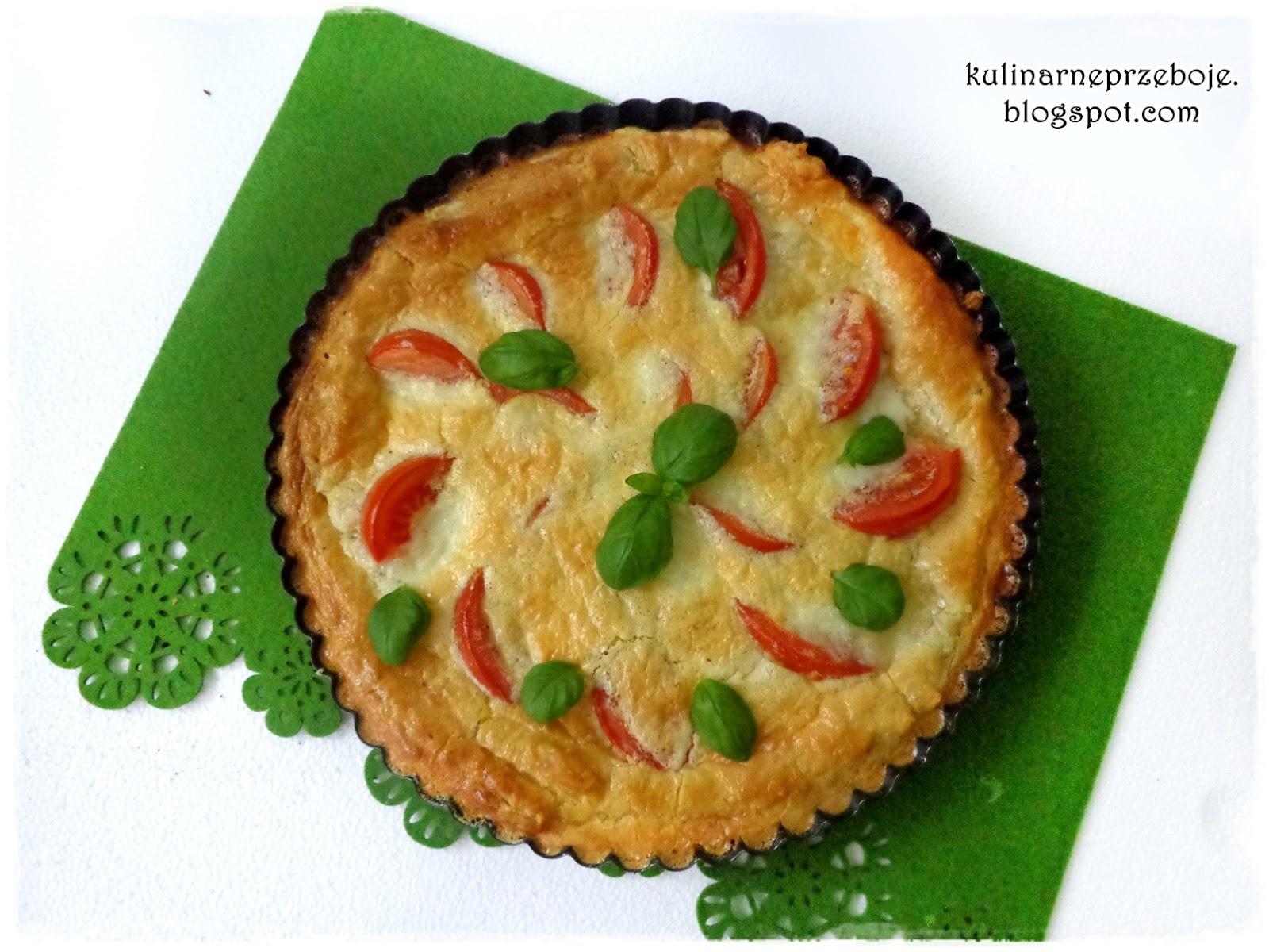 Włoska, szybka tarta na cieście francuskim, z pomidorami i mozzarellą
