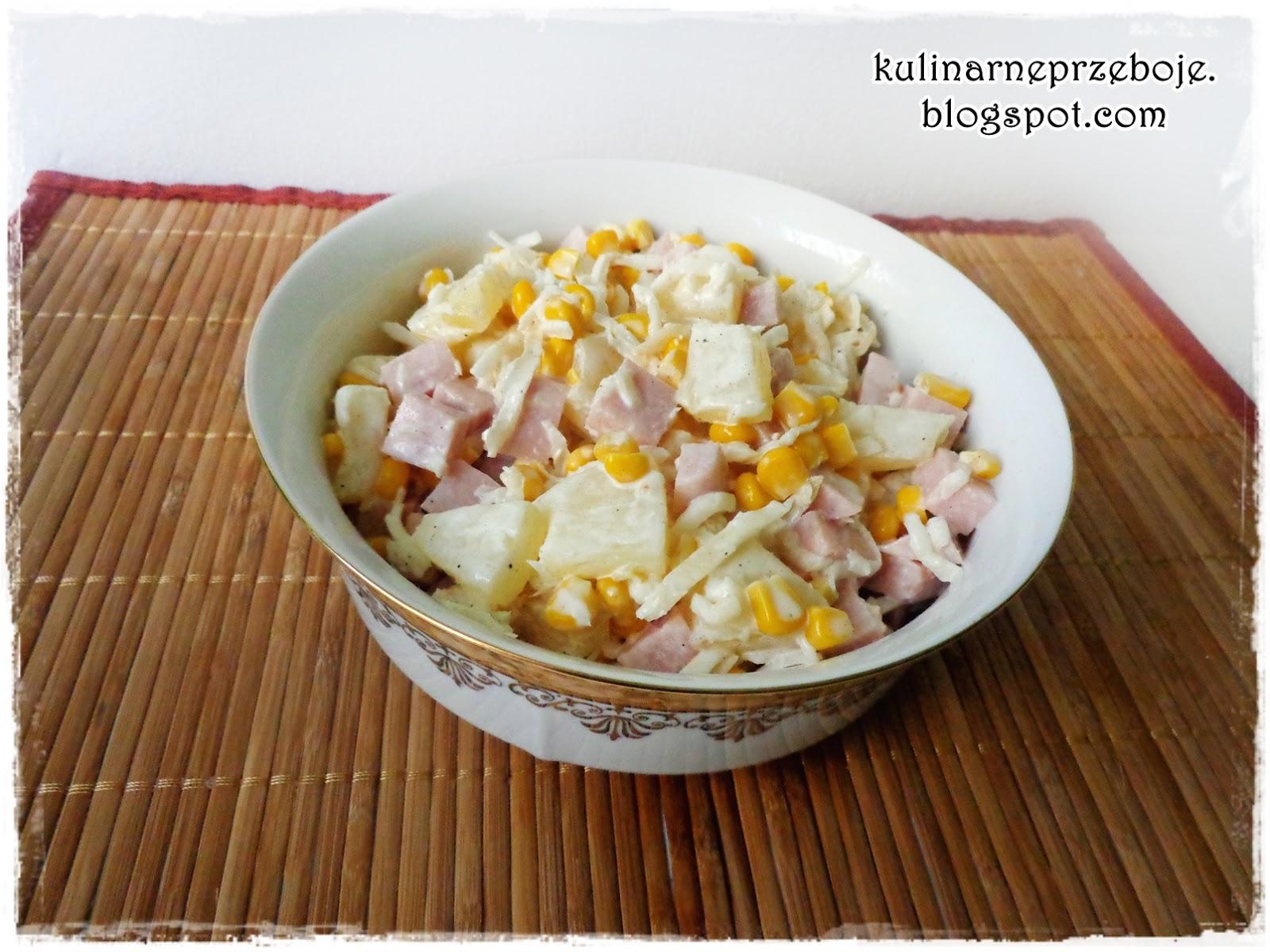 Sałatka z selerem konserwowym, szynką i ananasem