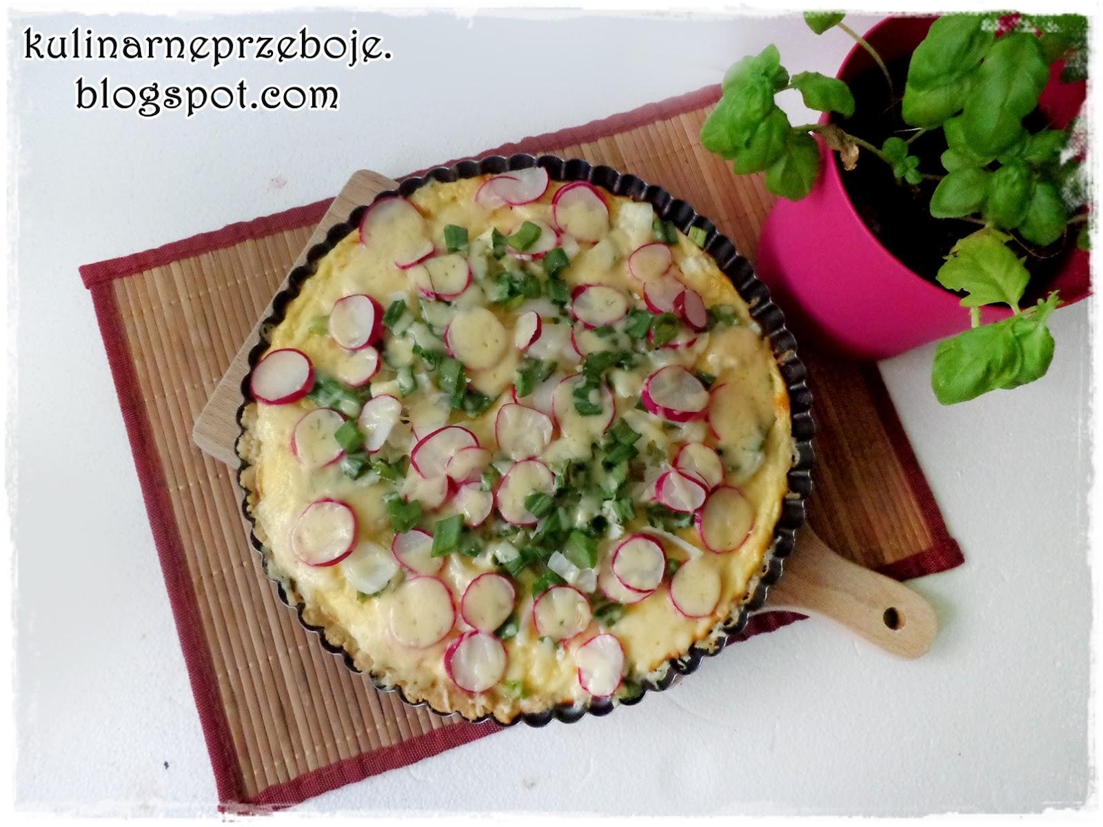 Wiosenna tarta na kruchym cieście (z rzodkiewką i serem feta)