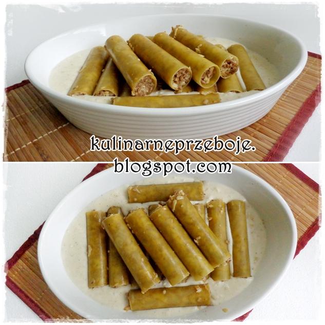 Cannelloni z mięsem mielonym w sosie porowym
