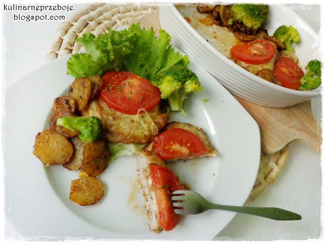 Schab zapiekany z serem i pomidorem