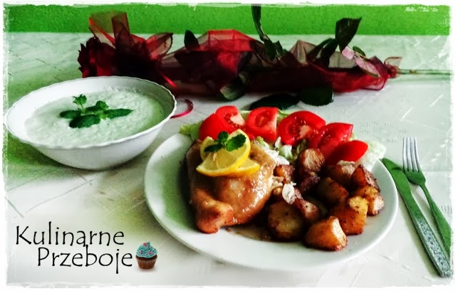 Kurczak marynowany w miodzie z chłodnikiem i ziemniaczkami wg Okrasy