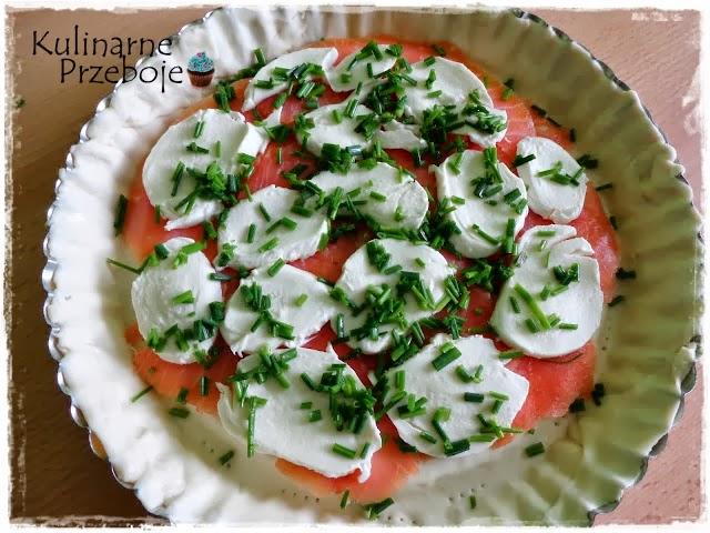 Szybka tarta z łososiem, mozzarellą i pomidorami wg Pascala
