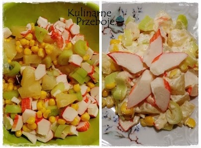 Sałatka z surimi, ananasem, kukurydzą i porem