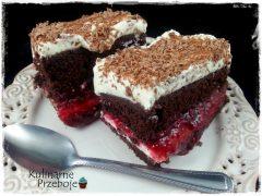 Ciasto / tort stracciatella z frużeliną malinową