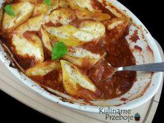 Makaronowe muszle conchiglioni z nadzieniem z mozzarelli, ricotty, mascarpone i parmezanu