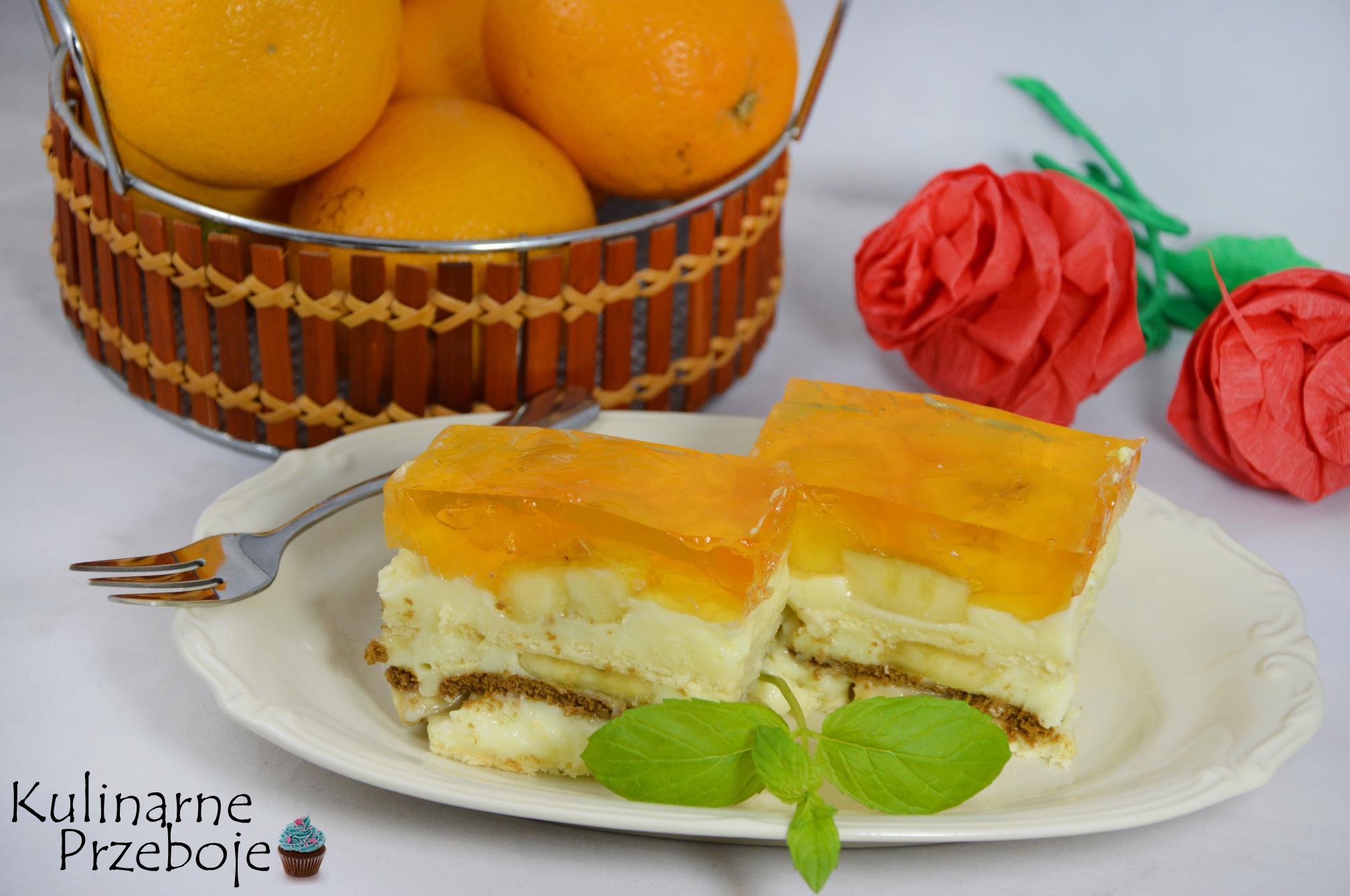 Ciasto bananowe z herbatnikami i pomarańczową galaretką