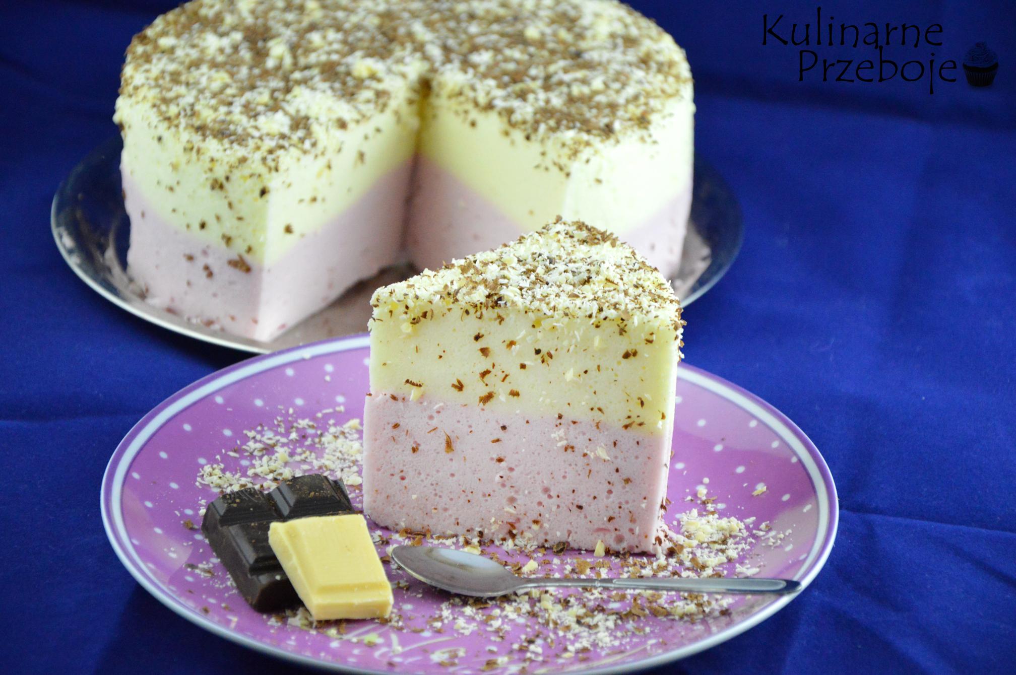 Szybkie ciasto z galaretkami i białą czekoladą