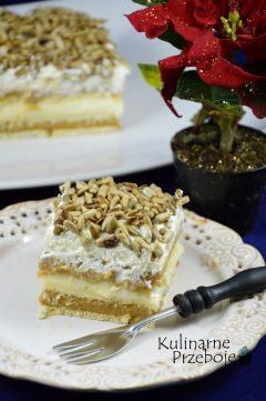 Ciasto bez pieczenia z prażonym słoneczkiem, masą krówkową na maślanych ciasteczkach lub herbatnikach