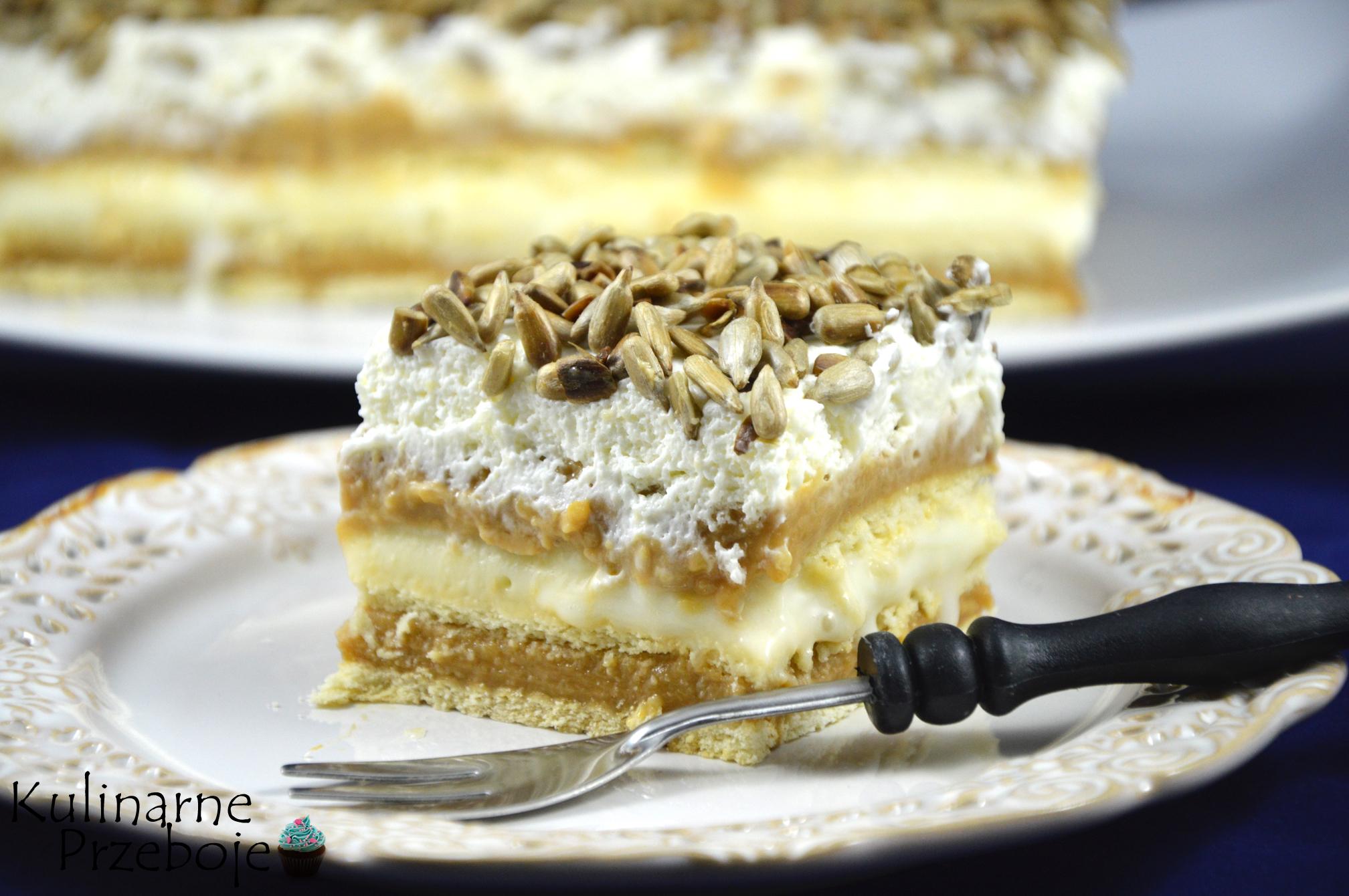 Ciasto z masą krówkową i prażonym słonecznikiem