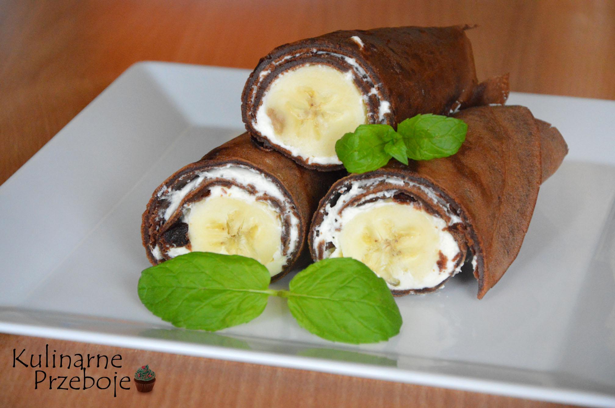 czekoladowe naleśniki z bananem