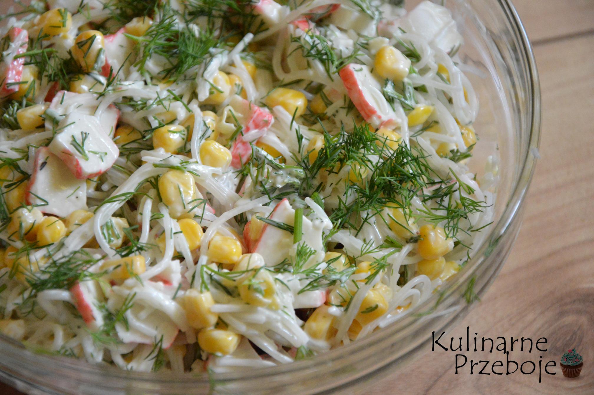 Salatka Surimi Krabowa Z Makaronem Ryzowym I Czosnkiem