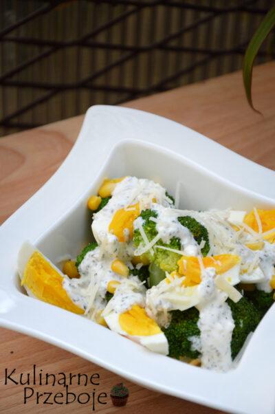 Prosta wiosenna sałatka z brokułem, jajkiem, parmezanem i majonezem