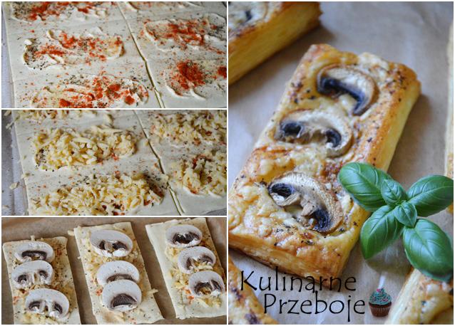 Przekąska z ciasta francuskiego i pieczarek