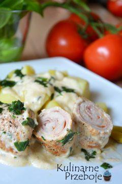 Pomysł na przepyszny obiad ze schabu, sera, szynki. Pyszne roladki musztardowo-śmietankowe