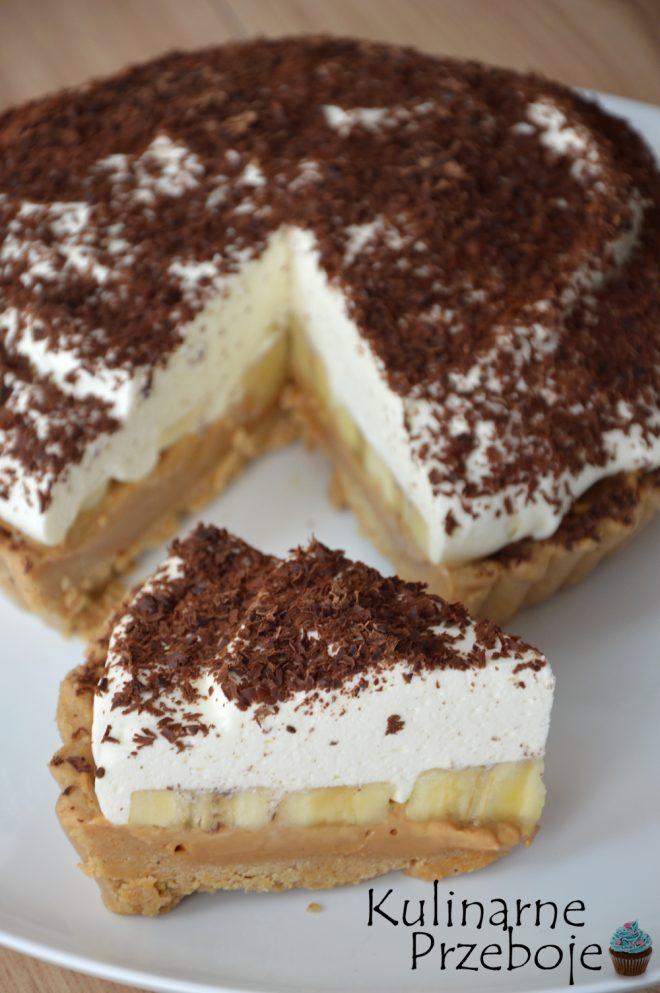 Ciasto z bananami, na płatkach owsianych z masłem. Z dodatkiem masy kajmakowej i gorzkiej czekolady. Szybkie bez pieczenia.