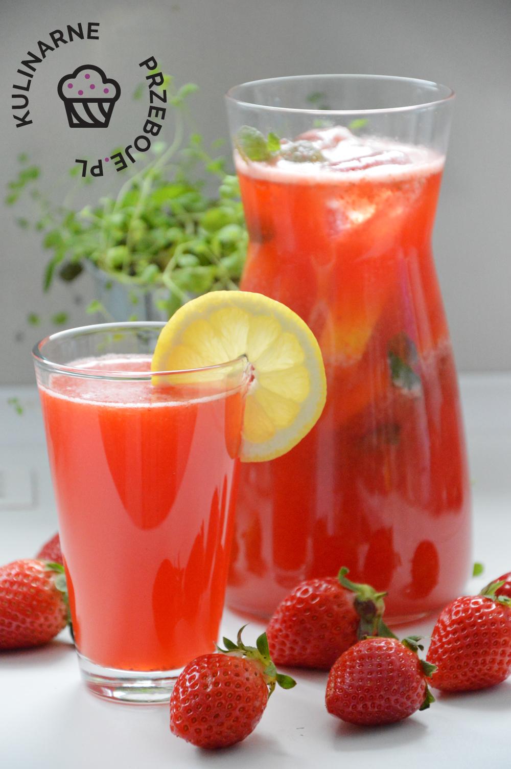 lemoniada truskawkowa z cytryną i miętą