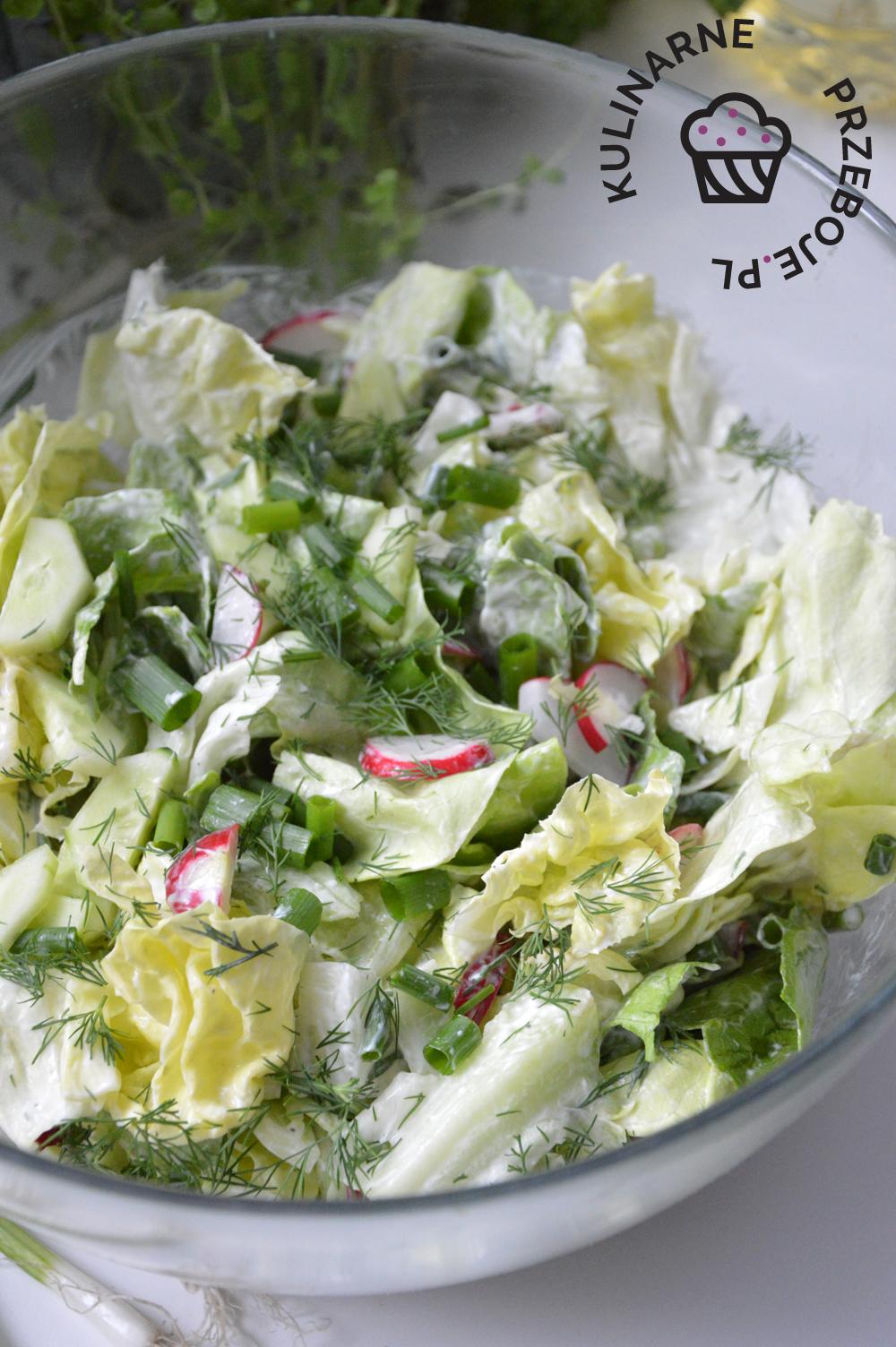 surówka do obiadu z sałatą masłowa i ogórkiem