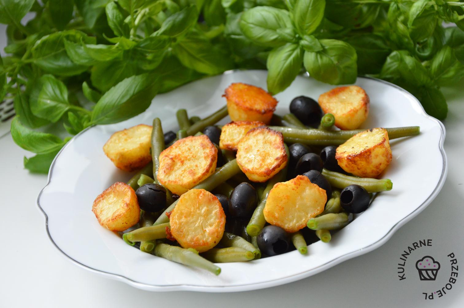 pieczone ziemniaki z fasolką szparagową