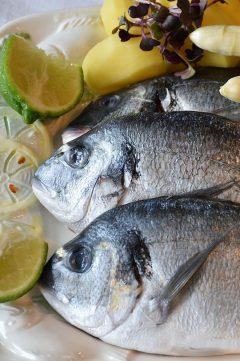 Dwie świeże ryby na talerzu